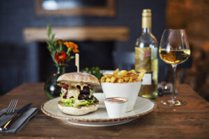 burger and chips at the weld arms